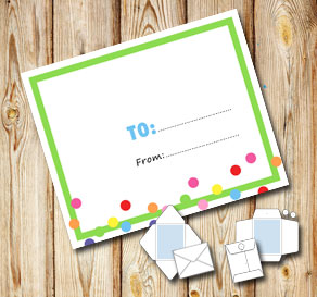 White envelope with a green frame and dots (to/from)  | Free printable envelopes