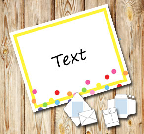 White envelope with a yellow frame and dots  | Free printable envelopes