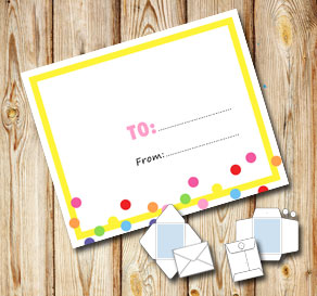 White envelope with a yellow frame and dots (to/from)  | Free printable envelopes