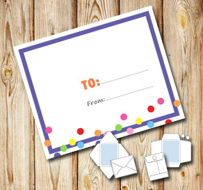 White envelope with a purple frame and dots (to/from)  | Free printable envelopes