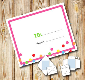 White envelope with a pink frame and dots (to/from)  | Free printable envelopes