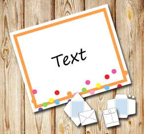 White envelope with a orange frame and dots  | Free printable envelopes