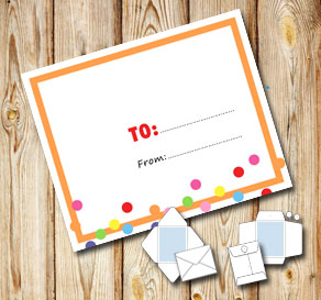 White envelope with a orange frame and dots (to/from)  | Free printable envelopes