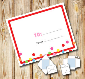 White envelope with a red frame and dots (to/from)  | Free printable envelopes