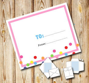White envelope with a light pink frame and dots (to...  | Free printable envelopes