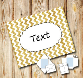 Golden chevron pattern envelope with a frame  | Free printable envelopes