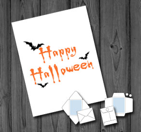 White envelope with Happy Halloween and bats  | Free printable for Halloween