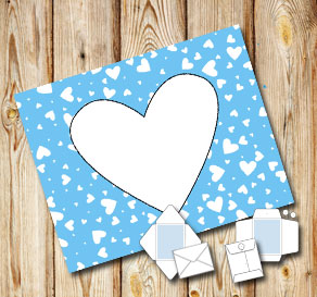Light blue envelope with white hearts  | Free printable for Valentines day
