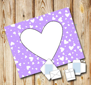 Light purple envelope with white hearts  | Free printable for Valentines day