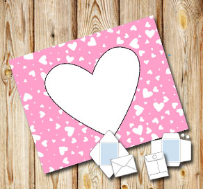 Light pink envelope with white hearts  | Free printable for Valentines day