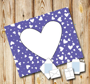 Dark purple envelope with white hearts  | Free printable for Valentines day