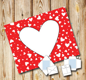 Red envelope with white hearts  | Free printable for Valentines day