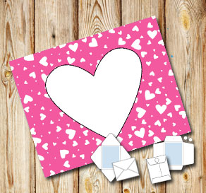 Pink envelope with white hearts  | Free printable for Valentines day