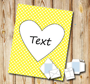 Yellow envelope with white dots and a heart  | Free printable for Valentines day