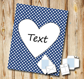 Dark blue envelope with white dots and a heart  | Free printable for Valentines day