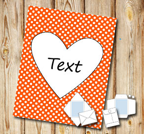 Orange envelope with white dots and a heart  | Free printable for Valentines day