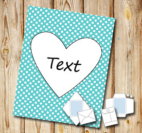 Turquoise envelope with white dots and a heart  | Free printable for Valentines day
