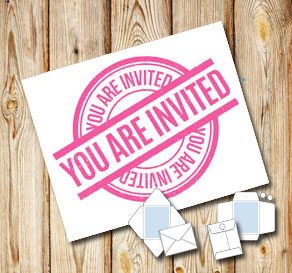 White envelope: You are invited (pink)