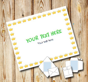 Envelope with yellow crowns  | Free printable envelopes