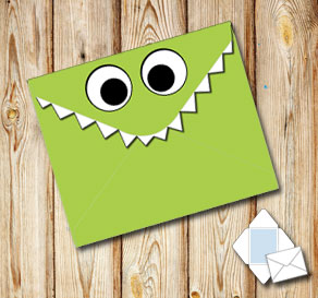 Monster envelope (green)  | Free printable envelopes