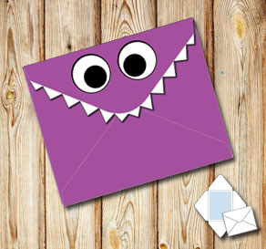 Monster envelope (purple)  | Free printable envelopes