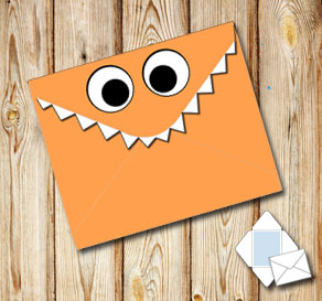 Monster envelope (orange)  | Free printable envelopes