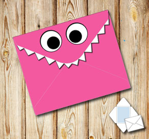 Monster envelope (pink)  | Free printable envelopes