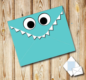 Monster envelope (turquoise)  | Free printable envelopes