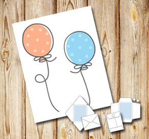 White envelope with dotted balloons 2  | Free printable envelopes