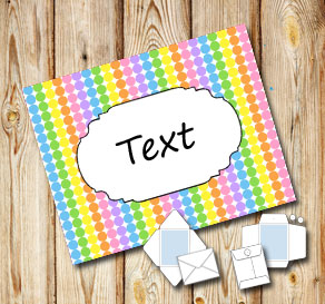 Light rainbow colored dotted envelope with a frame  | Free printable envelopes