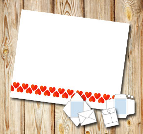 White envelope with red hearts  | Free printable for Valentines day