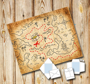 Envelope in old vintage paper with a treasure map  | Free printable envelopes
