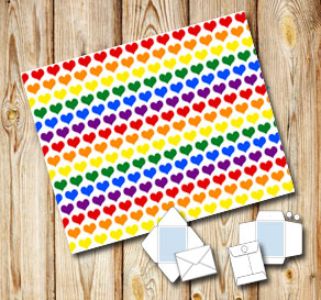 Envelope with colorful hearts  | Free printable for Valentines day