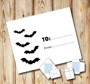 White envelope with bats (to/from)  | Free printable for Halloween
