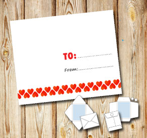 White envelope with red hearts and to/from  | Free printable for Valentines day