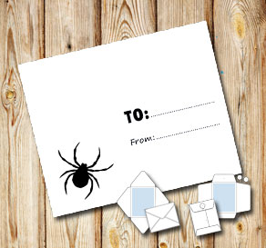 White envelope with a spider (to/from)  | Free printable for Halloween