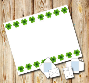 White envelope with green shamrock  | Free printable for St Patricks day