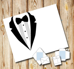 Envelope with a white tuxedo  | Free printable envelopes
