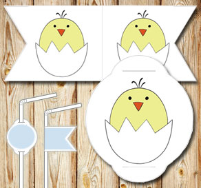 Straw decoration: Chicken  | Free printable for Easter
