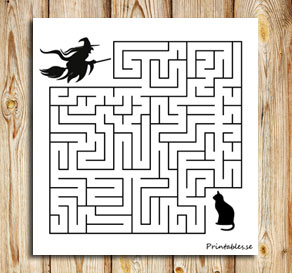 Small maze: Help the witch-find-her-cat  | Free printable for Halloween
