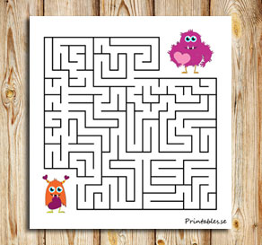 Small maze: Help the love monster find its friend  | Free printable for Valentines day