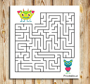 Small maze: Help the monster find its friend  | Free printable for Valentines day
