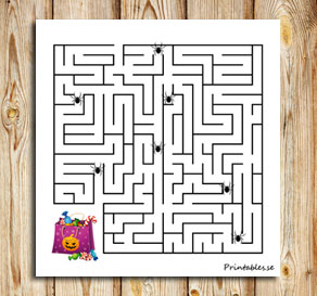 Small maze: Find the candy without passing a spider  | Free printable for Halloween