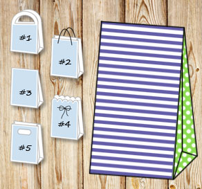 Purple and white striped gift bag with light green ...  | Free printable gift bag