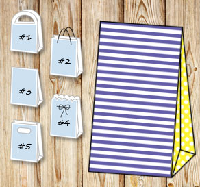 Purple and white striped gift bag with yellow dotte...  | Free printable gift bag