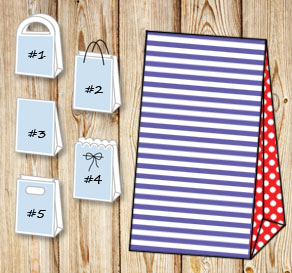 Purple and white striped gift bag with red dotted s...  | Free printable gift bag