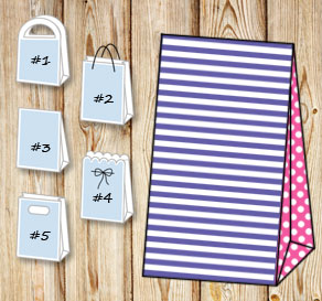 Purple and white striped gift bag with pink dotted ...  | Free printable gift bag