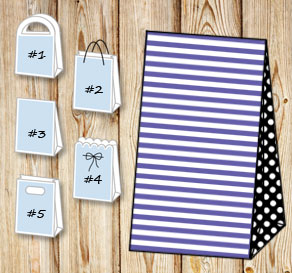 Purple and white striped gift bag with black dotted...  | Free printable gift bag