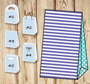 Purple and white striped gift bag with turquoise do...  | Free printable gift bag