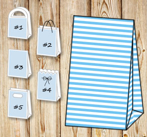 Light blue and white striped gift bag  | Free printable gift bag